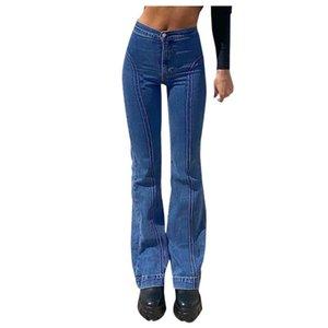 Женская широкая нога джинсы Harajuku прямые брюки мода середина талии ретро шить брюки бедро, песок тонкий винтажный синий цвет