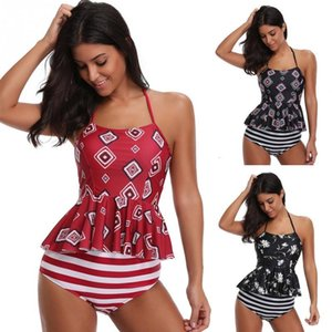 Women Sexy Printing Backless Halter Tankini Swimming Suit Swimming Wear Bathing Suit Two Piece Sets