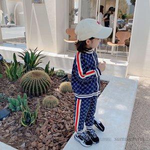Designer kids letter sports clothing sets girls stripe casual outfits autumn children zipper long sleeve outwear+loose pants 2pcs Q2120