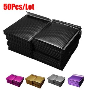 50pcs / lot 거품 봉투 가방 자기 인감 우편물 패딩 블랙 골드 봉투 버블 메일 링 가방 패키지 블랙