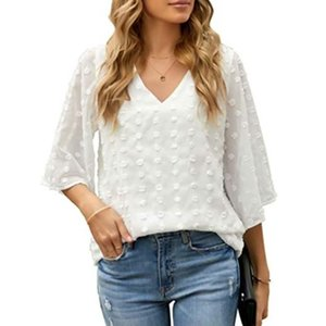 Women's Blouses & Shirts 2021 Women Spring Summer Style Lady Casual Loose V-Neck Half Flare Sleeve Solid Blusas Tops Plus Size 3XL