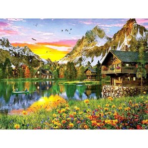 Oil Painting By Numbers On Canvas With Framed Landscpae Digital Coloring Drawing Paintings Number Home Decor