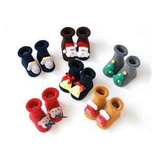 Home Winter Infant Baby Boys Girls Socks Anti Slip Cartoon Thick Warm Elk Christmas Clothes Accessories GWE5758