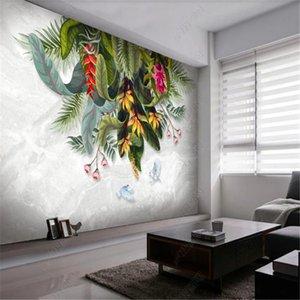 Fondos de pantalla pintados a mano medieval Fondos de pantalla para la sala de estar Flores y aves Plantas tropicales Dormitorio Fondo mural Papel de pared Decoración de la casa