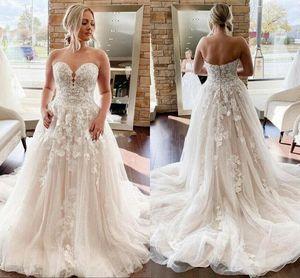 2021 Vintage Boho Lace Wedding Dress A Line Appliqued Sweetheart Neck Sweep Train Summer Beach Bridal Gowns Bohemian robe de marriage