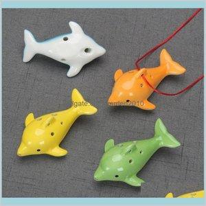 Arts et artisanat arts, cadeaux maison jardin mignon 6 trous céramique dauphin ocarina jouet éducatif instrument musical forme forme de musique