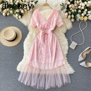 Women Sweet Pink French Lace V Neck Blackless Short Sleeve Sashes A-line Dresses Summer Fashion Streetwear Midi Dress 210415