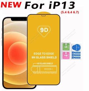9D Tam Kapak Tutkal Temperli Cam Telefon Ekran Koruyucu için iphone 13 12 Mini Pro 11 XR XS Max 8 7 6 Samsung Galaxy S21 A32 A42 A52 A72 4G 5G A51 A71 A02S MOTO G STYLUS 2021
