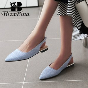 RIZABINA Low Heel Women Sandals Pointed Toe Buckle Shoes Women Solid Color Pattern Leather Casual Zapatos Size 31 48 Shoes For Women N t5XV#
