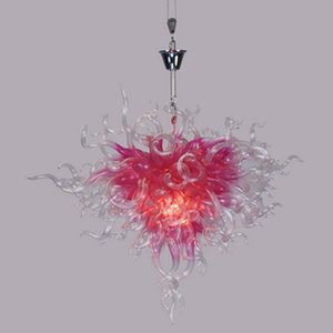 Lovely Pink Glass Pendant Lights 24 Inches G9 LED Lamp Sweet Drop Light for Foyer Bedroom Chandelier Lighting Art Decoration Lamps