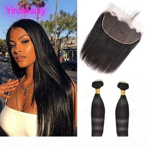 Indian Raw Virgin Hair Wholesale Two Bundles With 13X6 Lace Frontal With Baby Hair Natural Color Mink Straight Hair Wefts With Closure