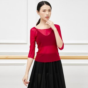 Stage Wear Arrival Ballet Dancing Costume Fashion Sexy Female Dance Clothing Round-neck Mid-Length Sleeve Translucent Gauzy Blouse