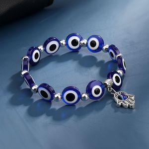 Blue Evil Eye Charm Bracelets Hamsa Hand Bracelet Jewelry for Women Men Black Fashion Lucky Fatima Plam Beaded Stretch Strands