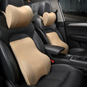 Seat Cushions PU Neck Pillow Car Headrest Support Lumbar Cushion Orthopedic Design Travel Memory Foam Relieve Pain