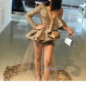 Gold Sparkly Sequined Formal Evening Party Dresses 2019 New Deep V Neck Sexy One Shoulder Long Sleeves Prom Dresses Tulle Gowns BA9830