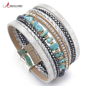 Amorcome Blue Natural Stone Leather Bracelets for Women Trendy Boho Smooth Rope Wide Multilayer Wrap Bracelet Women's Jewelry