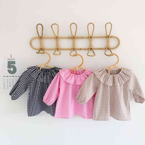2021 Ins New T-shirts Spring Autumn Girls Plaid Shirts Tops Baby Clothing