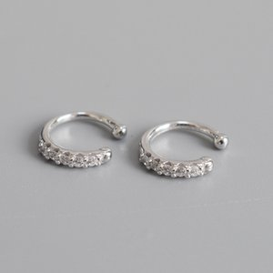 925 Sterling Silver Inserted Drill High-grade Ear Clip Simple Classic Temperament Lady's Ear Hole-free Ear Button Jewelry 210507