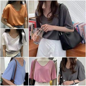 2021 new spring and summer Korean women's fashion trend loose U-neck short sleeve T-shirt 12 color round neck top