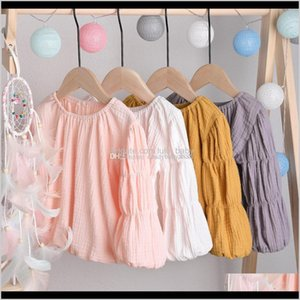 Kids Clothes Girls Puff Tops Cotton Linen Tees Children Solid Color Lantern Sleeve Tshirts Spring Autum Baby Clothing C1279 Xiq8X Pweiv