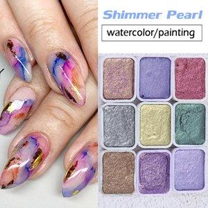 6/12 colori glitter perla solido acquerello vernice metallizzato blu viola chiodo cromato pigmento acquarela set decorazioni manicure fai da te