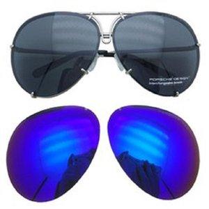 Porsche Design Brand P 8478 Sunglasse Lente sostituibile Anti riflettenti Donne Specchio Occhiali da sole Ovali Ovali Occhiali da sole intercambiabili Occhiali da sole