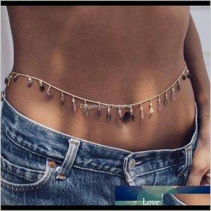 Fashion Coloful Belly Waist For Women Sexy Bikini Beach Link Vintage Acrylic Leaf Crystal Charm Jewelry Jm2Ke Navel Bell Button Rings Jmjz1