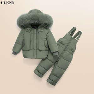 Winter Children Clothing Sets Kids Down Coat Jacket Hooded Parkas+Bib Pants Jumpsuit Boy Fur Snowsuits Baby Girl