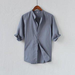 Marca Itália Estilo Verão Camisa Homens Sólida Casual Cinzento Mens Slim Fit Moda Stand Colarinho Camisas Masculinas Chemise de Marque Men