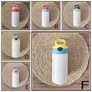 12 Oz 6 colors Kids Stainless Steel Sublimation Blanks Tumbler Thermos Mugs Straw Cap Water Bottle Portable Sippy Cup Student Sports HY0008
