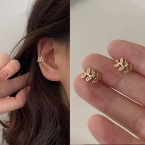 Fashion Gold Leaf Clip Earring For Women Without Piercing Puck Rock Vintage Crystal Ear Cuff Girls Jewerly Gifts2021