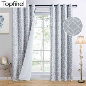 Grey Geometric Blackout Curtain for Bedroom Living Room Cube Luxury Elegant Thick Window Treatments Curtain High Blackout 210831