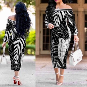 Dresses Off Shoulder Sexy S-5xl Plus Size Leaf Midi Es Summer Spring Bishop Sleeve Boho Female Women Long Floral