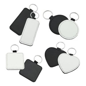 10Pcs Leather Keychains Blank Heart Round Square MDF Keychains Sublimation Heat Transfer Keychains Kit Jewelry Making 210409