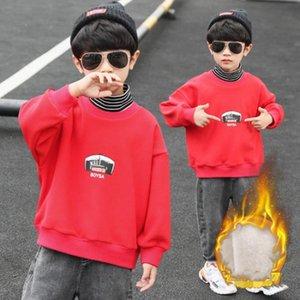 Hoodies & Sweatshirts Boys' Cotton Fleece 2021 Turtleneck Warm Plus Velvet Thicken Winter Autumn Tops Teenager Children's Clothing