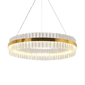 Included LED Strip Post-modern Golden Round Indoor LED Pendant Light With High Quality Crystal In Living Room Dining Room