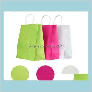 Gift Wrap Event & Party Supplies Festive Home Garden Wholesale- 10Pcs Lot Kraft Paper Bag With Handles 21*15*8Cm   Festival Bags For W