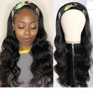 Gagaqueen hair Body Wave Headband Wigs Peruvian Non Lace Wig Remy Human Hair Wigs for Women
