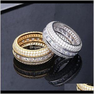 Drop Delivery 2021 Fashion Jewelry Grade Quality Bling Zircon Micro Paved Cluster Luxury Exquisite 18K Gold Plated Hip Hop Rings Fzjop