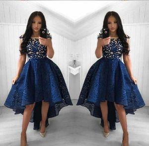 2021 Урожай темно-синий кружевные коктейльные платья шеи высокие низкие короткие вечеринки выпускные платья домородицы платья арабские Vestidos вечерние платья