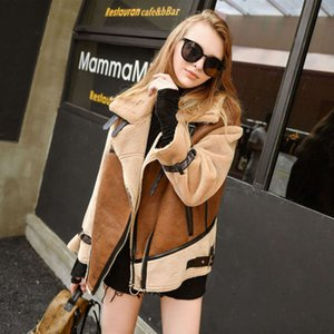 Vintage Chic Winter Woman Faux Suede Leather Patchwork Jackets Mortorcycle Plus Size Loose Faux Lambs Wool Coat