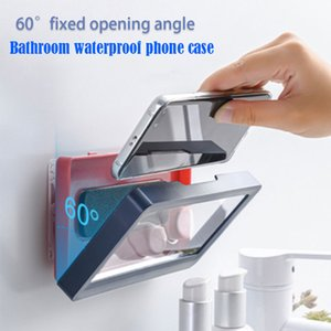 Bathroom Waterproof Mobile Phone Holder Punch-Free Wall Mount Anti-Fog Seal Protection Shower Touch CellPhone Case For Kitchen MobilePhone Mounts