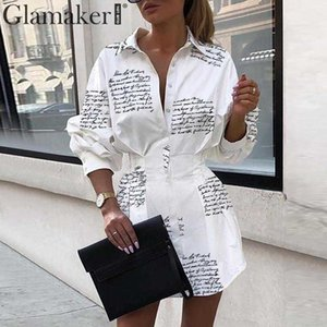 Glamaker Letter print sexy mini short shirt dress Women white long sleeve party club dress summer elegant bodycon dress 2020 T200416