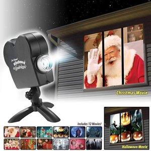 Party Decoration Christmas Halloween Laser Projector 12 Movies Disco Light Mini Window Display Home Indoor Outdoor Wonderland