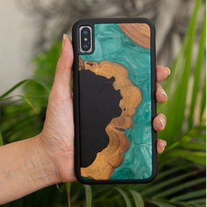 Scratch Resistant Phone Cases For iPhone 6 7 8 X Xr Xs Max Waterproof Luxury Emerald Green Resin TPU Back Cover Shell 2021 Wholesale