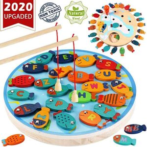 Magnetic Wooden Fishing Game Toys Alphabet Fishing Counting Board Game Toys Children's Birthday Learning Educational Toys 210901