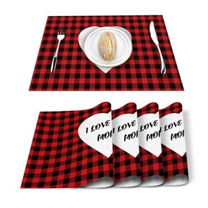 Table Runner 4 6pcs Mother'S Day Red Plaid Love Kitchen Placemat Set Dining Mats Cotton Linen Pad Bowl Cup Mat Home Decor