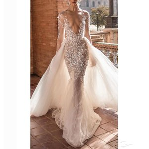 2021 Summer Wedding Dresses With Detachable Train Bridal Gown Long Sleeves Beach Custom Made Backless Boho Chic Mermaid Robes De Mariée