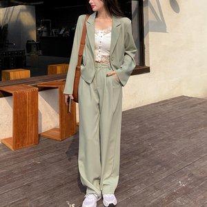 Высококачественные зеленые свободные 2 шт. Набор женщин Корейский ол блейзер пальто и широкие брюки ног устанавливают модные повседневные две костюмы женщин