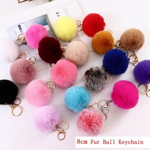 8cm Imitate Rabbit Fur Ball Keychain Pom Car Handbag Keychains Decoration Fluffy Faux Key Ring Bag Accessory